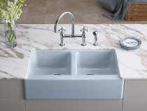 "Kohler | Hawthorne™ 33"" x 22-1/8"" x 8-3/4"" apron-front under-mount double-equal kitchen sink with 4 oversize faucet holes"