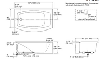 """Kohler Expanse® 60"""" X 30-36"""" Curved Alcove Bath With Integral Flange And Left-Hand Drain"""