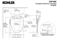 Kohler C3®-050 cleansing toilet seat, elongated