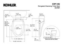Kohler C3®-125 Cleansing Toilet Seat, Elongated White