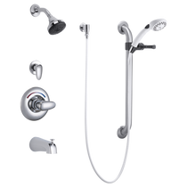 Delta Delta Monitor® 13 Series Tub and Dual Shower Trim, Diverter, Hand Shower and Grab Bar Chrome