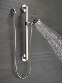 Delta Universal Showering Palm® Hand Shower with Contemporary Slide Bar / Grab Bar Stainless