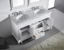 Boca 60 inch White Double Sink Bathroom Vanity