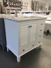 Royal Keyes 40 inch White Offset  Right Sink Bathroom Vanity