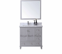 "Keyes 42"" Gray Offset Left Bathroom Vanity"
