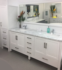 Palmera 90 inch Double Sink Bathroom White Vanity  & Side Cabinet Tower