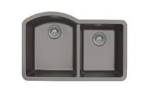 "Karran Double Bowl Undermount Kitchen Sink Concrete Finish 32""x 21"""