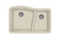 """Karren Double Bowl Undermount Kitchen Sink Bisque Finish 32""""x 21"""" QU-630"""
