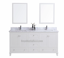 "Keyes 72"" White Double Sink Bathroom Vanity"