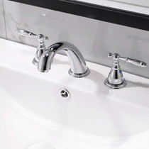 Brizo Boca Cee Widespread 8 Inch 3 Holes Double Handles Bathroom Faucet + Valve Chrome Finish