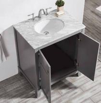"Bay  30""  Bathroom Grey Vanity with Stone Top"