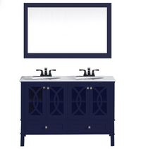 Florida 72inch Navy Blue Double Sink Bathroom Vanity Marble top and Sinks Included