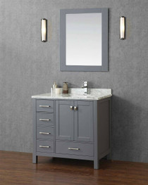 "Key West 42"" Gray Offset Right Sink Bathroom Vanity"