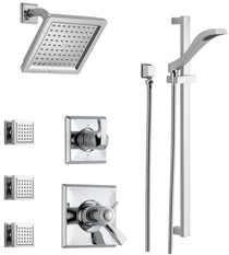 Delta  TempAssure  17T Series Thermostatic Shower System with Integrated Volume Control, Shower Head, 3 Body Sprays and Hand Shower - Includes Rough-In Valves