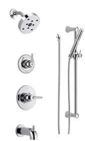 Delta Monitor 14 Series Pressure Balanced Tub and Shower System with Shower Head, Hand Shower, and Slide  Bar - Includes Rough-In Valves