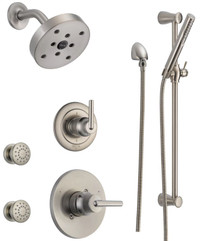 Delta Monitor 14 Series Single Function Pressure Balanced Shower System with Shower Head, 2 Body Sprays and Hand Shower - Includes Rough-In Valves