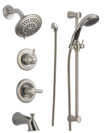 Delta Monitor 14 Series Pressure Balanced Tub and Shower System with Shower Head, Hand Shower, and Slide Bar - Includes Rough-In Valves: Lahara