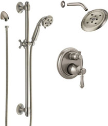 Delta Cassidy Pressure Balanced Shower System with Shower Head, Shower Arm, Hand Shower, Slide Bar, Hose, Valve Trim and MultiChoice Rough-In