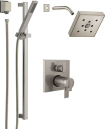 Delta Ara Pressure Balanced Shower System with Shower Head, Shower Arm, Hand Shower, Slide Bar, Hose, Valve Trim and MultiChoice Rough-In