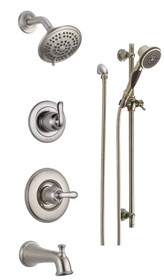 Delta Monitor 14 Series Pressure Balanced Tub and Shower System with Shower Head, Hand Shower, and Slide Bar - Includes Rough-In Valves - Linden