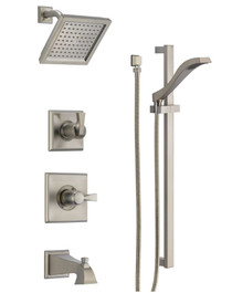 Delta Monitor 14 Series Pressure Balanced Tub and Shower System with Shower Head, Hand Shower, and Slide Bar - Includes Rough-In Valves - Dryden