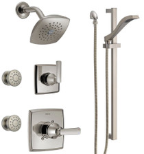 Delta Monitor 14 Series Single Function Pressure Balanced Shower System with Shower Head, 2 Body Sprays and Hand Shower - Includes Rough-In Valves - Ashlyn