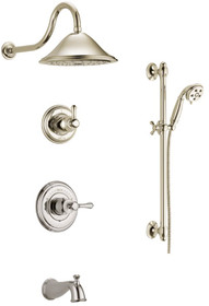 Delta Monitor 14 Series Pressure Balanced Tub and Shower System with Shower Head, Hand Shower, and Slide Bar - Includes Rough-In Valves - Cassidy