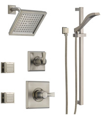 Delta Monitor 14 Series Single Function Pressure Balanced Shower System with Shower Head, 2 Body Sprays and Hand Shower - Includes Rough-In Valves - Dryden