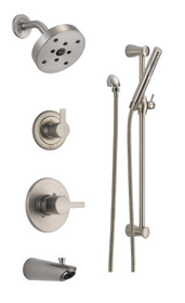 Delta Monitor 14 Series Pressure Balanced Tub and Shower System with Shower Head, Hand Shower, and Slide Bar - Includes Rough-In Valves - Compel