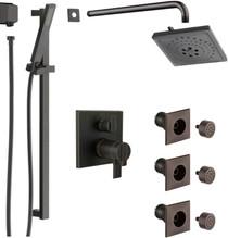 Delta Ara Thermostatic Shower System with Shower Head, Shower Arm, Hand Shower, Slide Bar, Bodysprays, Hose, Valve Trim and MultiChoice Rough-In