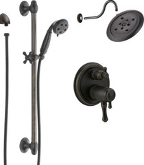 Delta Cassidy Thermostatic Shower System with Shower Head, Shower Arm, Hand Shower, Slide Bar, Hose, Valve Trim and MultiChoice Rough-In