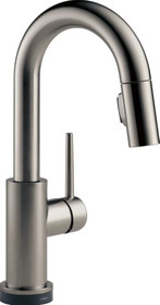 Delta Trinsic Pull-Down Bar/Prep Faucet with On/Off Touch Activation, Magnetic Docking Spray Head, and Optional Base Plate - Includes Lifetime Warranty (5 Year on Electronic Parts)