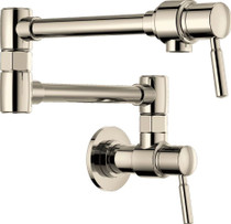 """Brizo Euro Wall Mounted Pot Filler with 22"""" Double Jointed Swinging Spout - Includes Lifetime Warranty"""