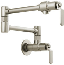 Brizo Litze 4 GPM Wall Mounted Double Handle Pot Filler with Industrial Handles - Limited Lifetime Warranty