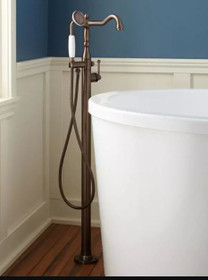 Signature Hardware Sidonie Floor Mounted Tub Filler- Includes Telephone Style Hand Shower