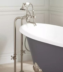 """Signature Hardware 31-1/2"""" Floor Mounted Tub Filler Faucet with Metal Cross Handles - Includes Hand Shower and Valve"""