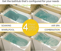 """American Standard Value 59-1/2"""" Gelcoat Walk In Whirlpool Bathtub with Left Drain, Roman Tub Filler and Handshower - Includes Drain Assembly and Overflow"""