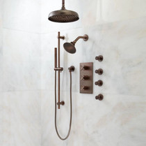 """Signature Hardware Exira Thermostatic Shower System with 10"""" Rainfall Shower Head, Wall Mounted Shower Head, Hand Shower, and 4 Body Sprays - Rough In Included"""