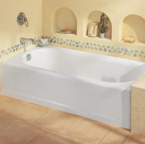 "American Standard Princeton 60"" Americast Soaking Bathtub with Left or Right Hand Drain - Chrome Trim- Lifetime Warranty"