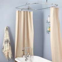 """Signature Hardware 2"""" Rim Mount Hand Shower Conversion Kit with Brass Shower Head, Porcelain Cross Handles and 60"""" x 28"""" Shower Curtain Ring"""