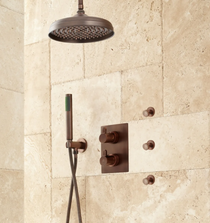 "Signature Hardware Hinson 6"" Rainfall Shower System - Hand Shower and 3 Body Spray"