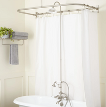 """Signature Hardware English Hand Shower Conversion Kit with Porcelain Shower Head, Porcelain Lever Handles, 6"""" Coupler Height and 60"""" x 27"""" D Curtain Ring"""