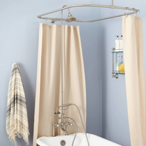 """Signature Hardware 6"""" Rim Mount Hand Shower Conversion Kit with Brass Shower Head, Vintage Cross Handles and 60"""" x 28"""" Shower Curtain Ring"""