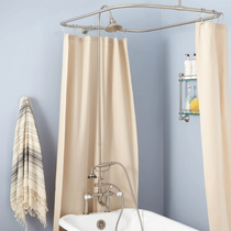 """Signature Hardware 6"""" Rim Mount Hand Shower Conversion Kit with Brass Shower Head, Porcelain Lever Handles and 60"""" x 28"""" Shower Curtain Ring"""