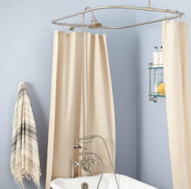 """Signature Hardware 6"""" Rim Mount Hand Shower Conversion Kit with Brass Shower Head, Brass Cross Handles and 60"""" x 28"""" Shower Curtain Ring"""