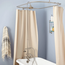 """Signature Hardware 2"""" Rim Mount Hand Shower Conversion Kit with Brass Shower Head, Vintage Cross Handles and 60"""" x 28"""" Shower Curtain Ring"""