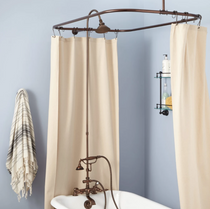 """Signature Hardware 2"""" Rim Mount Hand Shower Conversion Kit with Brass Shower Head, Brass Lever Handles and 60"""" x 28"""" Shower Curtain Ring"""