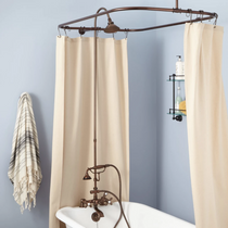 """Signature Hardware 2"""" Rim Mount Hand Shower Conversion Kit with Brass Shower Head, Brass Cross Handles and 60"""" x 28"""" Shower Curtain Ring"""