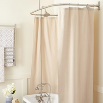 """Signature Hardware English Hand Shower Conversion Kit with Brass Shower Head, Brass Lever Handles and 60"""" x 27"""" D Curtain Ring - Roller Ball Ring Included"""