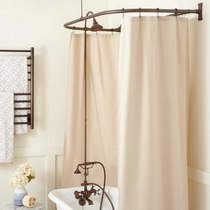 """Signature Hardware English Hand Shower Conversion Kit with Brass Shower Head, Brass Cross Handles and 60"""" x 27"""" D Curtain Ring - Roller Ball Ring Included"""